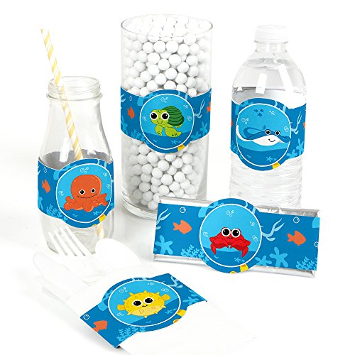 Under The Sea Critters - DIY Party Supplies - Baby Shower or Birthday Party DIY Wrapper Favors & Decorations - Set of 15 ()