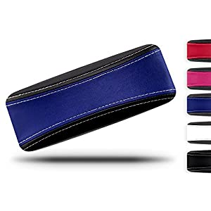 Protective Glasses Case for Men and Women - Prevent Scratches on your Glasses and Sunglasses - Premium Leather Felt Lined - 100% Satisfaction Guarantee - Blue on Black with White Stitching