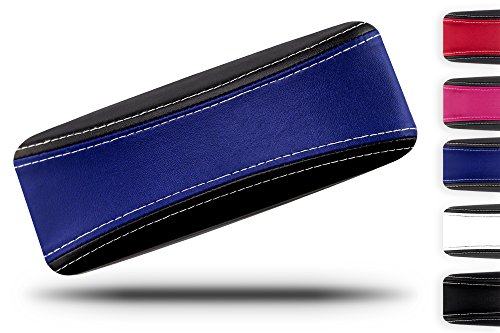 Crush Womens Eyeglasses - Protective Glasses Case for Men and Women - Prevent Scratches on your Glasses and Sunglasses - Premium Leather Felt Lined - 100% Satisfaction Guarantee - Blue on Black with White Stitching