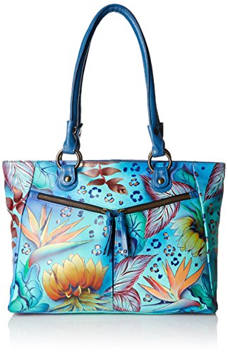 Anuschka Handpainted Leather Large Shopper with Front Pockets, Tropical (2 Pocket Shopper)