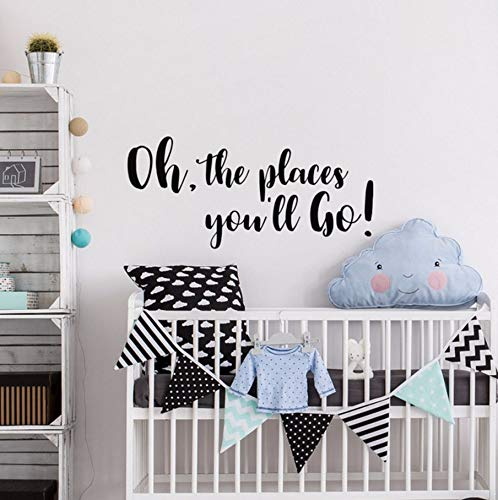 Pbldb Baby Girl Boy Nursery Wall Decal Saying Oh The Places You'll Go Quote Vinyl Wall Art Sticker for Kids Rooms Home Decor 57X26Cm