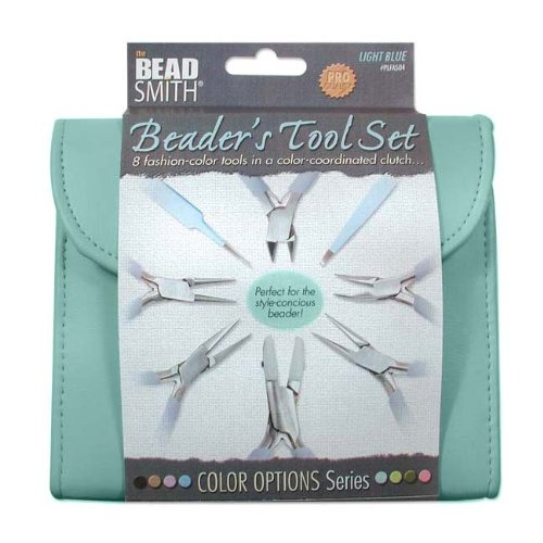 BEADSMITH 8 FASHION-LIGHT BLUE TOOL SET for MAKING JEWELRY with COORDINATED CLUTCH CARRY - Bead Plier Knotting