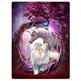 Blankets Soft Plush Super Warm Sofa Bed Blanket Wonderland White Unicorn Cat Butterfly 60''x80''