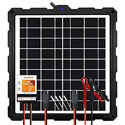 POWOXI-Upgraded-Solar-Battery-Charger-Maintainer, External Smart 3-Stages PWM Charge Controller, 12V Solar Panel Trickle Charging Kit for Car, Marine, Motorcycle, RV, etc