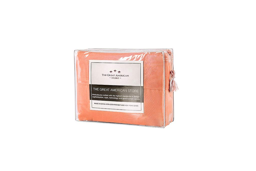 The Great American Store 600 Thread Count 100% Cotton Un-Attached Waterbed Sheet Queen Size - Solid Coral - Wrinkle & Stain Resitant