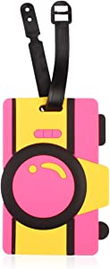 Cute Travel Bag Luggage Name Tag ID Labels - Suitcase Identification Label Holder, Food (Camera)