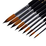 Angelduck Paintbrushes (9 Pack), Long Handle Round Brush Set 0-16#, Art Paint Brushes for Acrylic, Oil, Watercolors