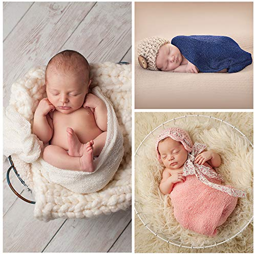 aecb449ed85 Pllieay 3 Pieces Newborn Stretch Wraps Baby Photography Props Long Ripple  Wrap Blanket (White