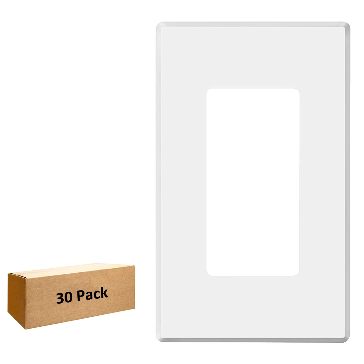[30 Pack] BESTTEN Screwless Wall Plate, USWP2 Series, 1-Gang Light Switch Cover for Dimmer, Sensor, Timer, GFCI and Decorator Receptacle, Residential and Commercial Grade, UL Listed, White