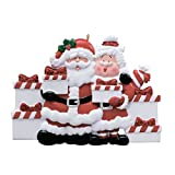 Personalized Santa and Mrs. Claus Presents of 6 Christmas Ornament - Mr. & Miss in Red Suit Bring Gifts - Family Friends Grand-Children Kids Tradition Surprise Toys - Free Customization (Six) -  Ornaments by Elves
