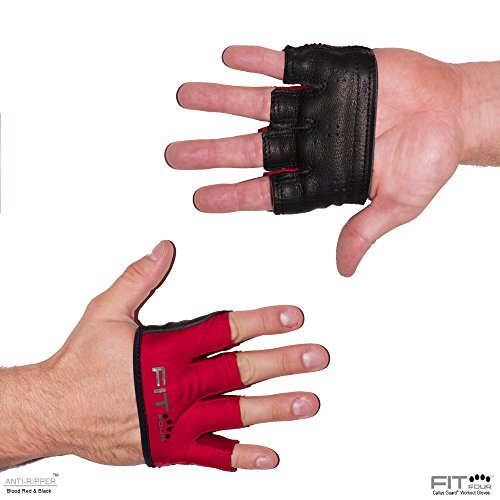 The Anti-Ripper Glove   Fit Four Callus Guard Fitness Gloves for Weightlifting & Cross Training Athletes - Premium Leather Palm (Blood Red & Black, Medium)