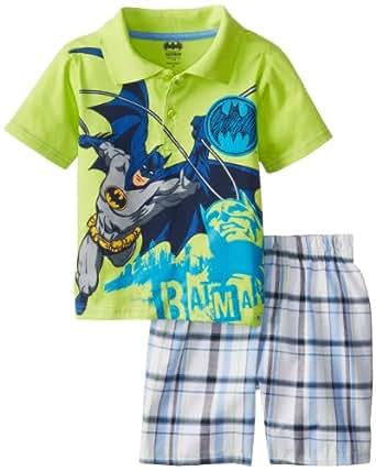 Warner Brothers Batman Little Boys' Polo Plaid Short Set, Green, 3T