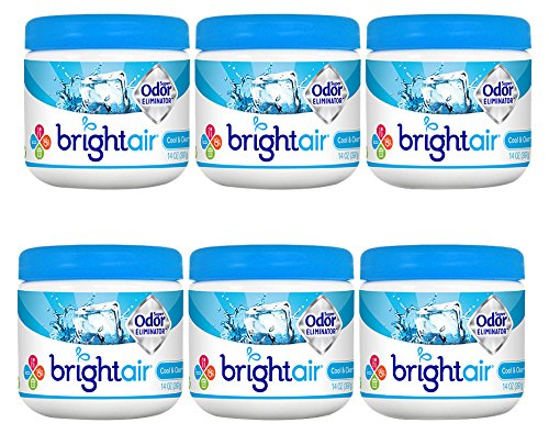 (Bright Air Solid Air Freshener and Odor Eliminator, Cool and Clean Scent, 14 Ounces, 6 Pack)