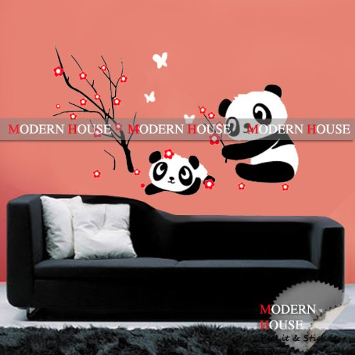 Modern House Panda and Red Cherry Blossom Vinyl Mural Art Wall Sticker Decal ()