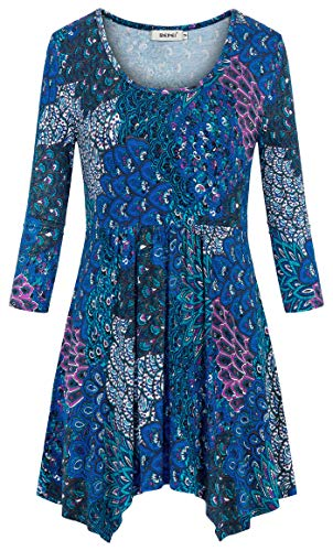 Asymmetrical Empire Waist Tunic - BEPEI Tunics for Women,3/4 Sleeve Floral Crew Neck Empire Waist Dressy Blouses Stylish Cute Pleated Front Asymmetrical Hem Tops Summer Casual Basic T Shirt Plus Size Vacation Holiday Bule Green 2XL