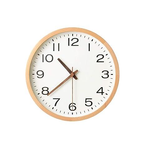 Pan&Pan Reloj de Pared silencioso - Relojes de Madera Decorativos Vintage de Barrido silencioso Digital de