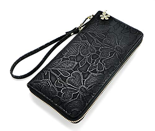 Women large Wallet soft leather wristlet Card Organizer Phone holder Ladies Clutch Long Purse with Wrist Strap Zipper around (F black)