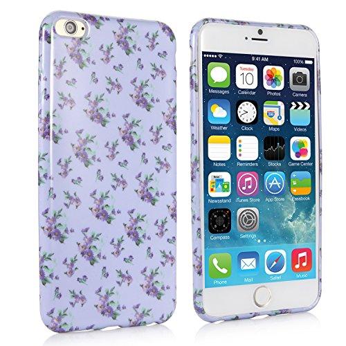 iHarbort® iPhone 6 Plus Hülle - Weich TPU Silikon Malerei blume Hülle Case Tasche Schutzhülle für Apple iPhone 6 Plus iPhone 6 + (5,5 zoll-Lila)
