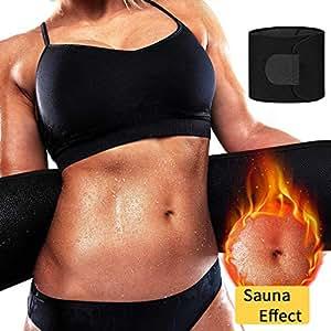 DANLOTE Waist Trainer for Women Men, Waist Cincher ab Belt Weight Loss - Sweat Slimming Neoprene Waist Trimmer Bands Black