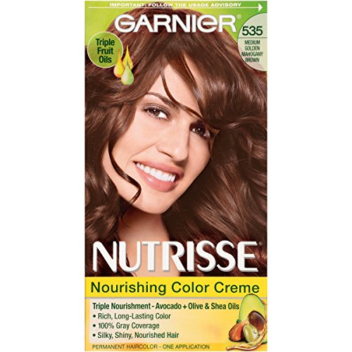 Garnier Nutrisse Nourishing Hair Color Creme, 535 Medium Gold Mahogany Brown (Packaging May Vary)