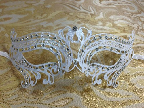[Majestic White Lover Swan Princess Venetian Masquerade Mask with Diamonds] (Swan Princess Costume)
