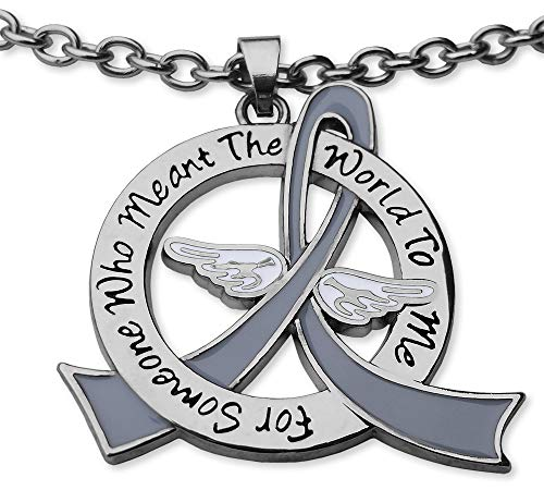 Fight Like a Girl for Someone Who Meant The World to Me Necklace Brain Cancer Tumor Diabetes Parkinson's Disease - Grey Ribbon -