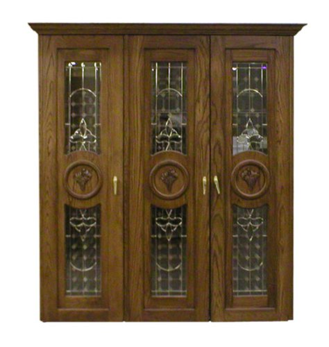 Concord 900-Series White Oak Wine Cabinet with 3 Beveled Glass Doors by Vinotemp - Concord Oak Wine Cooler Cabinet