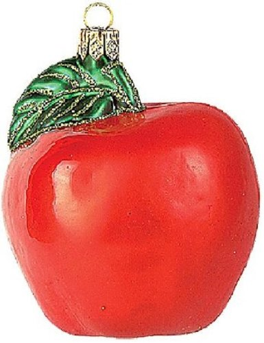 (Pinnacle Peak Trading Company Red Apple Fruit Polish Glass Christmas Ornament Made in Poland Decoration)