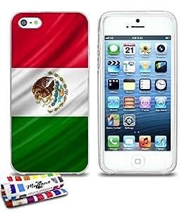 Carcasa Flexible Ultra-Slim APPLE IPHONE 5S / IPHONE SE de exclusivo motivo [Mexico Bandera] [Transparente] de MUZZANO  + ESTILETE y PAÑO MUZZANO REGALADOS - La Protección Antigolpes ULTIMA, ELEGANTE Y DURADERA para su APPLE IPHONE 5S / IPHONE SE