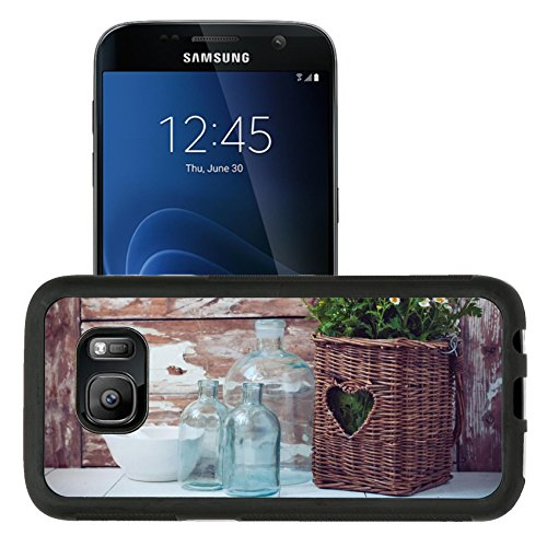 Liili Samsung Galaxy S7 Aluminum Backplate Bumper Snap Case retriver Photo 19682663 Flowers in a wicker basket vintage glass bottles and a mortar on wooden background cozy home rustic decor cottage l ()