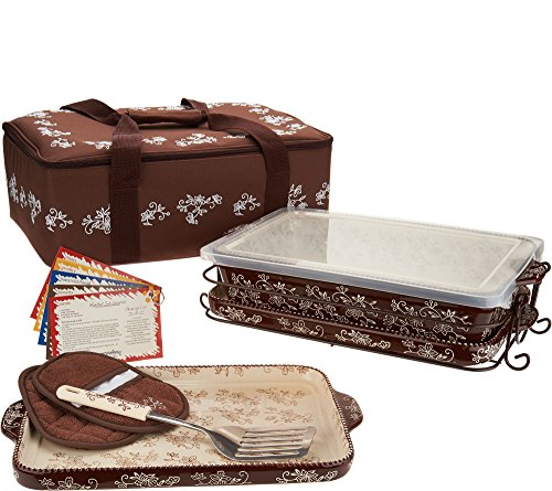 Temp-tations 13 inchx9 inch 4 Quart Baking Dish, Insulated Tote, 2 Stoneware Trays(Lid-It), Plastic Cover, Utensil, 2 Mitts (Floral Lace Chocolate)