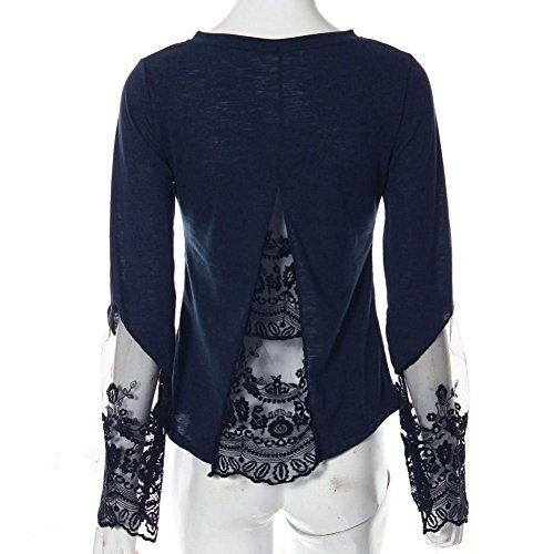 Oyedens Moda Mujer 2016 Para Mujer Las Mujeres Que Empalma De La Manga Larga De Encaje Blusa Suelta Tops Camisa Negro / Azula Women Princess Vogue: ...