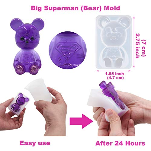 EuTengHao 132Pcs Animal Silicone Molds DIY Resin Casting Molds Kit Contains 4 Bears Resin Molds Rabbit Cat Paw Mold Necklace Pendant Resin Molds Time Gem Eiffel Tower Jewelry Crystal Resin Mold