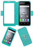 Acm SVIEW Window Designer Rotating Flip Flap Case for Micromax Bolt S301 Mobile Smart View Cover Stand Turquoise