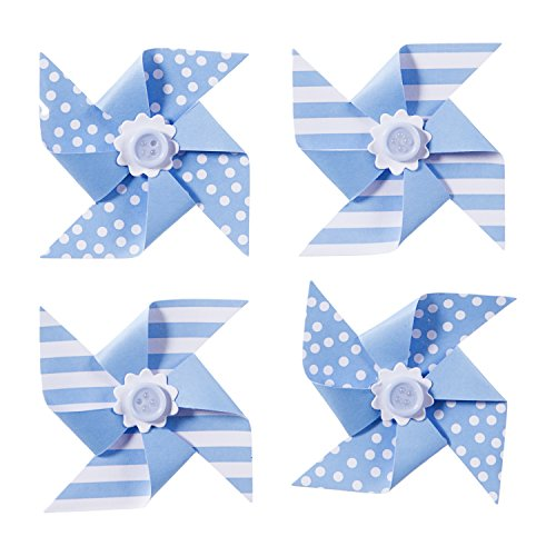 Darice Light Blue Paper Pinwheels 4 -