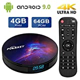 Android 9.0 TV Box 4GB RAM 64GB ROM, Android TV Box with RK3318 Quad-Core 64bits Dual-WiFi 2.4G/5G 4K/HD 3D H.265 USB 3.0 BT 4.0 Smart TV Box P9 PRO by Puersit