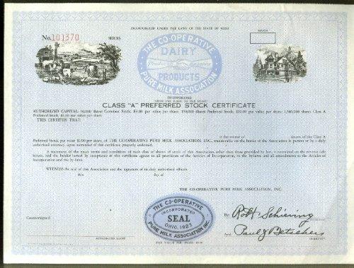 Co-Operative Pure Milk Association of Ohio unissued stock certificate 1950s