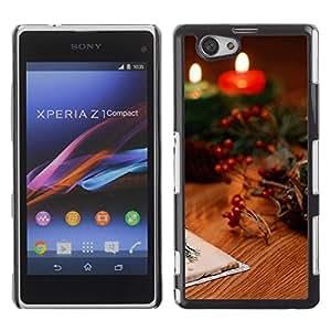 Paccase / SLIM PC / Aliminium Casa Carcasa Funda Case Cover para - Christmas Candles & Cards - Sony Xperia Z1 Compact D5503