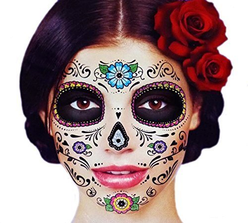 Glitter Floral Day of the Dead Sugar Skull Temporary Face Tattoo Kit - Pack of 2 (Skeleton Halloween Costume Face)