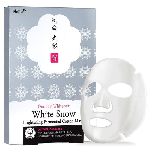 Nella Brightening Cotton Mask, White Snow Whitening Facial Mask, Tone-Up and Moisturizing, All-Cotton Sheet, Korean Beauty, 5-Sheets Pack