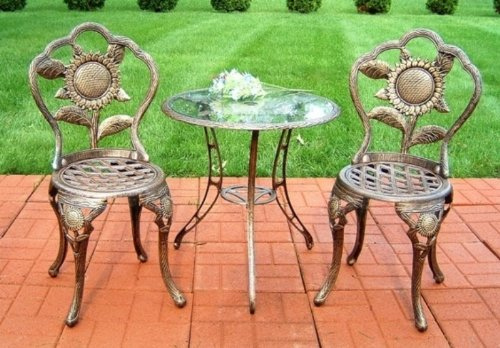 Oakland Living Sunflower Cast Aluminum 3-Piece Bistro Set, Antique Bronze