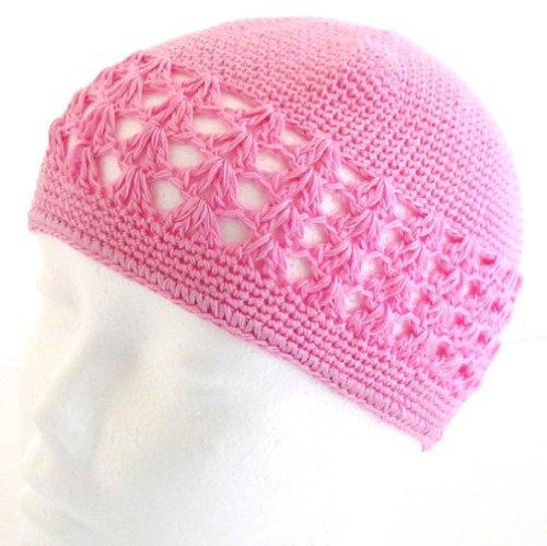 Skull Kufi Beanie Hat - Knit Kufi Hat - Koopy Cap - Crochet Beanie (Pink)