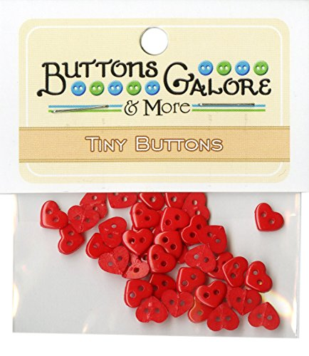 Buttons Galore Minis Red Hearts Buttons, 1/4