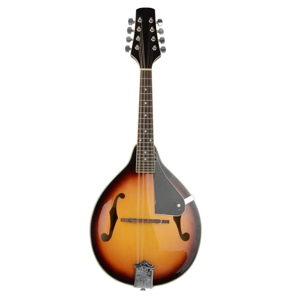 Elegant Cambered Wood Mandolin with Acoustic Strings Sunset Style