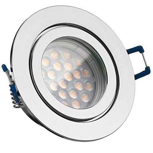 3er IP44 LED Einbaustrahler Set Chrom mit LED GU5.3 / MR16 Markenstrahler von LEDANDO - 5W - warmweiss - 60° Abstrahlwinkel - Feuchtraum/Badezimmer - 35W Ersatz - A+ - LED Spot 5 Watt - rund