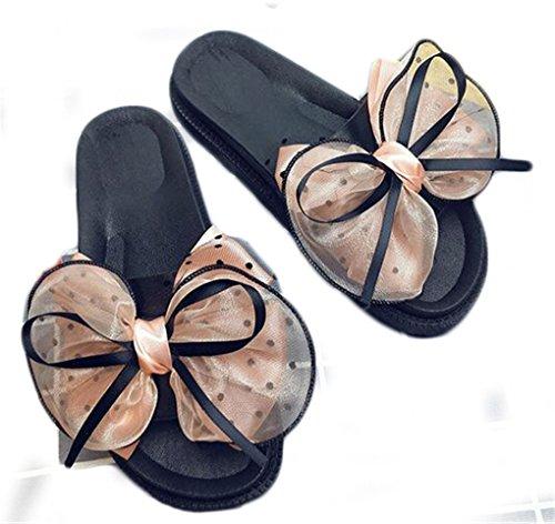 NEWZCERS Forme a mujeres los deslizadores planos, arco del verano los zapatos gruesos de la playa de la parte inferior de la fricción de la palabra rosado