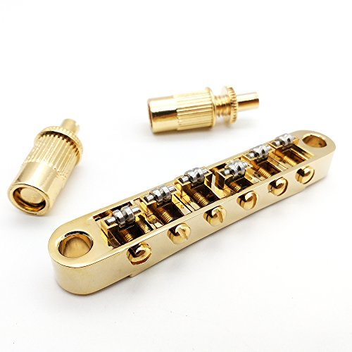 Tune O-matic Saddles (Golden Guitar Roller Saddle Tune-O-Matic Bridge For Gibson Epiphone Les Paul SG Dot Bigsby Guitar M8 Threaded Posts)