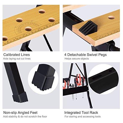 Portable Multipurpose Workbench Table Folding - Toolsempire Adjustable Work Table Sawhorse Vise Heavy Duty Stainless Steel Legs Lightweight Repair Tools For Workshop Light Work by Toolsempire (Image #4)