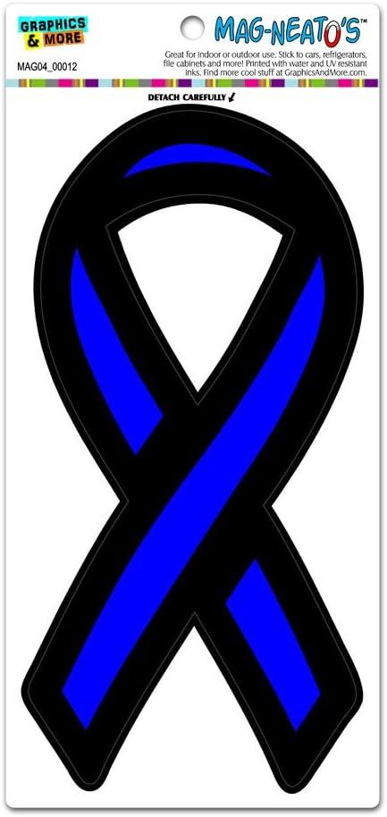 "4/""-10/"" SUPPORT LAW ENFORCEMENT THIN BLUE LINE Car Ribbon Magnet"