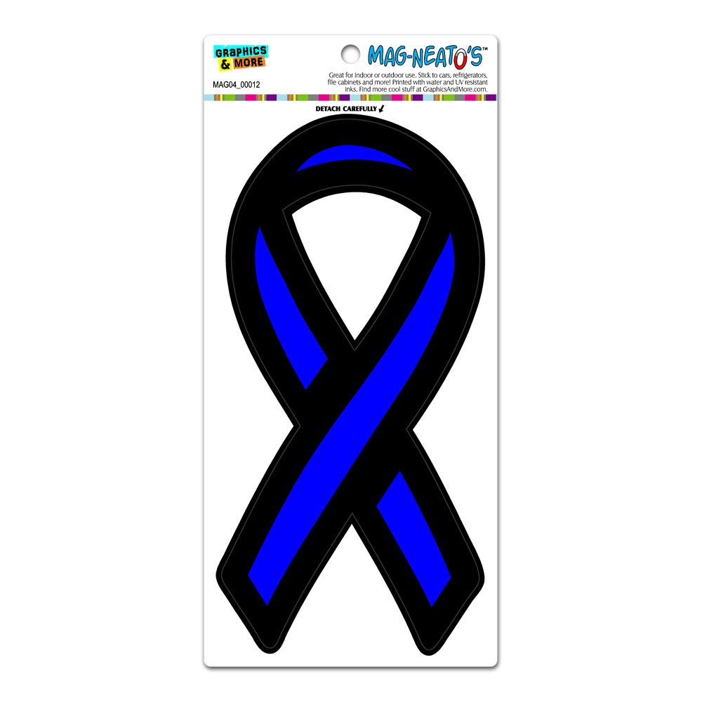 The Thin Blue Line Ribbon Support Ribbon TM Police Law Enforcement MAG-NEATOS Automotive Car Bonnet Boot Refrigerator Locker Vinyl Magnet